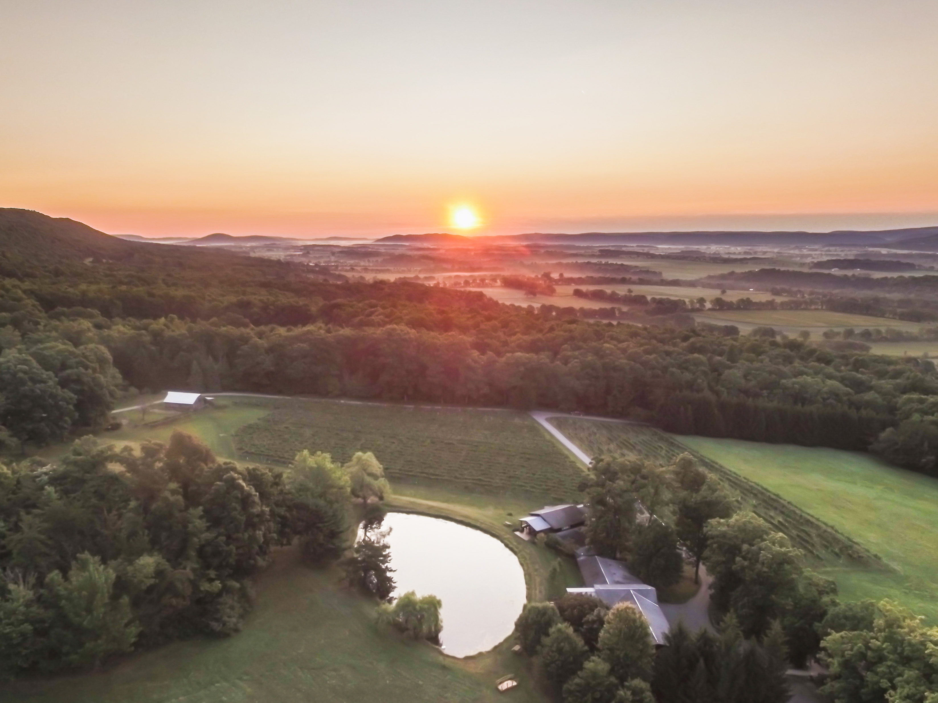 Mt Nittany Winery Aerial Sunrise